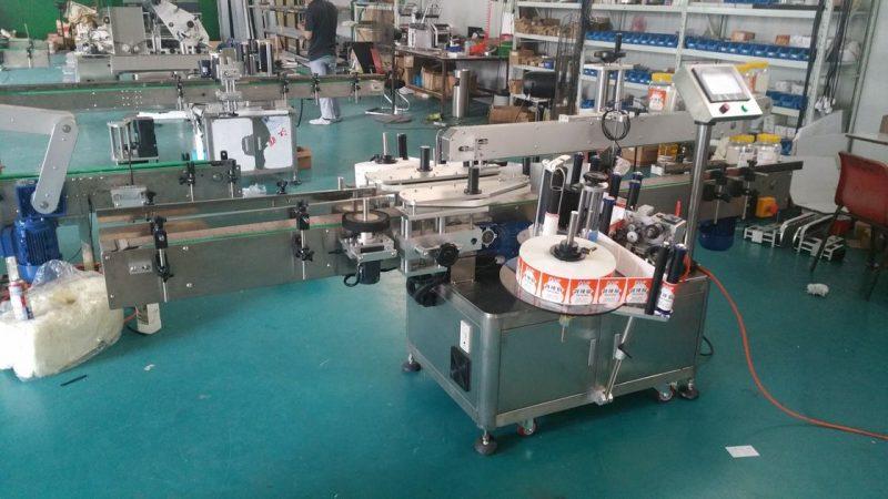 चीन स्वयंचलित बाटली लेबलर डबल साइड स्टिकर लेबलिंग मशीन पाउच स्टँडिंग अप सप्लायर